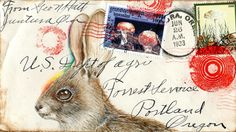 inkhead: bunny and shrooms postcard, gouache, 2012 mail art originals and…