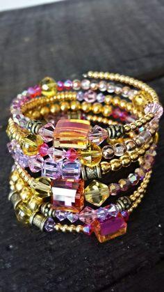 nice DIY Bijoux - Gold, pink and purple memory wire bracelet...