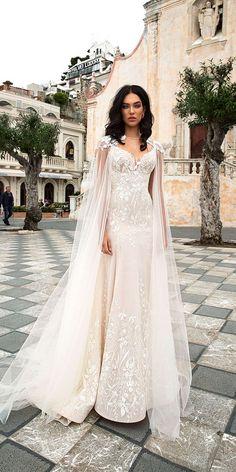 30 Wedding Dresses 2019 — Trends & Top Designers ❤️ wedding dress trend 2019 sheath lace embellishment with cape ivory innocentia 2019 ❤️ Full gallery: https://weddingdressesguide.com/wedding-dresses-2019/ #bridalgown #weddingdresses2019 #wedding #bride
