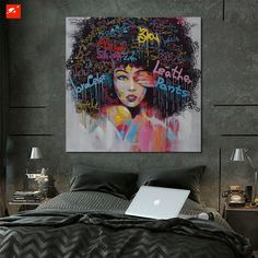 2 Panel Unframed Modern Abstract Graffiti Women Head Portrait Wall Canvas