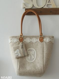hand made beige wool purse