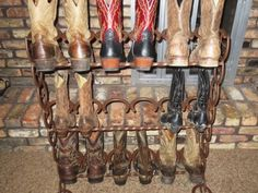 Cowboy Boot Rack Ideas | Holds 9 Pairs. $240 is basic stand price. (Basic stand not shown ...
