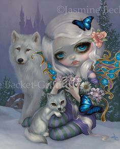 Winter fairy art print by Jasmine Becket-Griffith 8x10 four seasons baby wolf wolves fairies ice snow castle by strangeling on Etsy https://www.etsy.com/ca/listing/260530122/winter-fairy-art-print-by-jasmine-becket