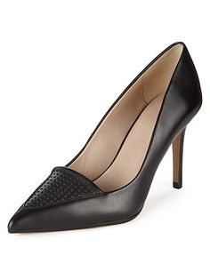 Leather Pointed Toe Punch Hole Court Shoes with Insolia® | M&S