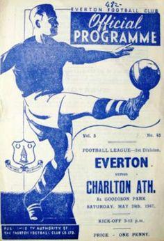 Everton v Charlton Athlewtic 1946-47 match programme