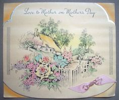 Mother's Day 1940's? cottage with flowers vintage greeting card *F2 | eBay