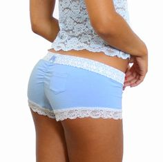 c0a639e1bc Light Blue Boyshort with Trellis FOXERS Band Cute Lingerie