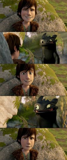 """LOL Toothless, hiccup looks so disappointed! xD_- hiccup with that """"WTF?!!"""" look on his face."""