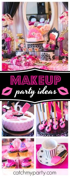 Don't miss this chic Makeup Gala Boutique Tea Party birthday party! The dessert table is stunning!! See more party ideas and share yours at CatchMyParty.com #makeup #teaparty #girlbirthday