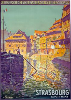 Vintage Strasbourg France Travel Poster