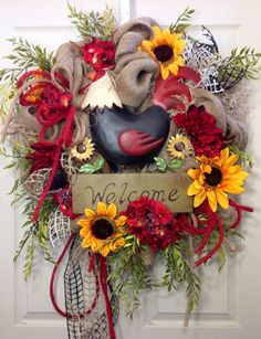 Rooster Welcome Burlap Wreath on Etsy, $115.00