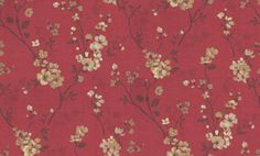 Estelle (FL75109) - Albany Wallpapers - A sumptuous red floral trail of oriental-inspired blossoms in creams, mustards and browns. Warm and enchanting elegance! Additional colourways & co-ordinating plains also available. Please request a sample for true colour & texture match.