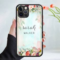 Personalised flower pattern phone case cover 245 Black (Apple Models Only) - 2