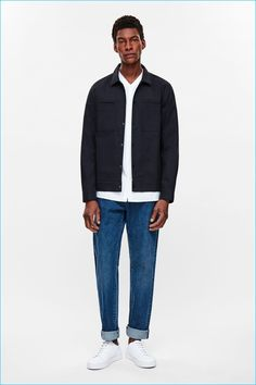 How to wear: navy denim jacket, white v-neck t-shirt, blue jeans, white leather low top sneakers Denim Jacket Men, Shirt Jacket, Cos Jackets, Cos Man, Latest Clothes For Men, Daytime Outfit, White V Necks, Men Looks, V Neck T Shirt