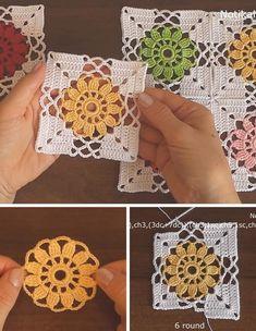 Kate's Crochet World Granny Square Crochet Pattern, Crochet Flower Patterns, Crochet Diagram, Crochet Stitches Patterns, Crochet Squares, Crochet Granny, Filet Crochet, Crochet Motif, Crochet Flowers