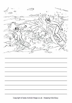 Here's a colouring page and writing lines designed to encourage your child to write about a visit to the zoo. What animals will the children see? Hindi Worksheets, Writing Lines, Surfing Tips, Writing Pictures, Picture Story, Story Prompts, Daily 5, Work Inspiration, Line Design