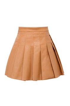 Teo Tan Vegan Leather Skater Skirt