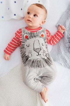 Lion Face Dungarees and red striped t shirt for baby boy from Next