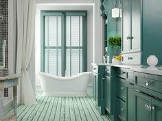 BEST bathroom color Ideas, paint, and color schemes for small bathroom, medium, or large bathroom. Green Bathroom Colors, Best Bathroom Paint Colors, Taupe Bathroom, Lavender Bathroom, Palette Verte, Large Bathrooms, Style Retro, Bathroom Renovations, Bathroom Ideas
