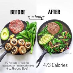 """15 minutes for breakfast, lunch, or dinner - just 5 ingredients, and 1 cast iron pan from — """"👉🏼 Breakdown 473 Calories 34 Protein 10 Carbs Fat 33 - Fibre —— 👉🏼 What you will need Healthy Meal Prep, Healthy Snacks, Healthy Eating, Paleo Recipes, Cooking Recipes, Pescatarian Recipes, Avocado Recipes, Burger Recipes, Recipes Dinner"""
