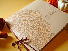 Handmade Personalize Paisley Guest Book by Earmark Social $ 25.00 - change the colors too! >> So pretty!