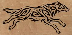 Attractive Tribal Wolf Running Tattoo Design
