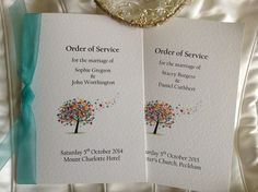 Love Tree Wedding Order of Service Books for Quick Delivery. Order of service for weddings from UK Wedding Order of Service Printing company
