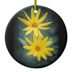 Two yellow flowers of Jerusalem artichoke Ceramic Ornament - photography gifts diy custom unique special