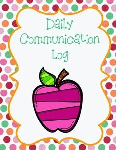 This is a great communication log to be used between school and home.  It pairs with my clip up/clip down chart.