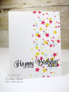 Karolyn Loncon for Avery Elle using Cake & Candles and Avery Elle ink pads – Mimosa, Raspberry and Sea Glass.