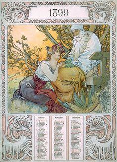 1899 Nouveau Calendar by Alphonse Mucha Fine Art Print