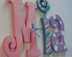 Hanging nursery letters pink purple and por BurnsWithInspiration Baby Name Letters, Nursery Letters, 3d Letters, Painted Letters, Letter Wall, Wooden Letters, Teal Nursery, Nursery Decor, Letter A Crafts