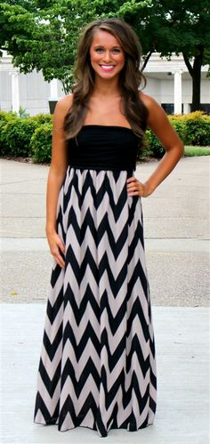 The perfect transitional maxi. This mocha chevron maxi is gorgeous. The skirt is fully lined and runs true to size. S-L available for $39