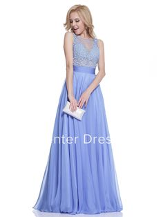 A-Line Long Scoop-Neck Sleeveless Chiffon Low-V Back Dress With Beading And Pleats