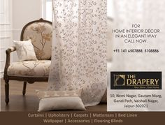 Make your living room visually appealing as you decorate it using Carpets, furnitures, and Rugs and it will surely impress you and your guests. Buy Curtains Online, Home Interior, Home Decor Accessories, Jaipur, Drapery, Living Room, Elegant, Furnitures, Rugs