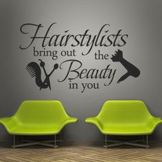 hairstylist Wall Decal hairdresser beauty Comb Art Quote Vinyl Salon Decor Room #Geckoo #Modern
