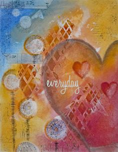Mixed Media Art with #panpastel #rubberstamps #stencil and some other stuff on Ingress Paper - Daniela Rogall für PanPastel BNL http://panpastelbnl.blogspot.de/2016/02/valentine.html