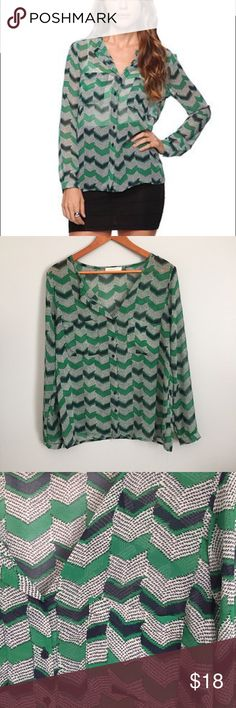 Forever 21 chevron sheer blouse Like new condition.  Fits TTS.  Tag has been removed with material content.  It's most likely polyester if I'd guess. Measurements happily given upon request.  🍾Note: 20% off 2 or more items in my closet! Forever 21 Tops