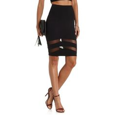 Charlotte Russe Black Mesh Cut-Out Pencil Skirt by Charlotte Russe at... ($23) via Polyvore featuring skirts, black, high waist knee length pencil skirt, black bodycon skirt, black knee length pencil skirt, pencil skirt and high waisted skirts