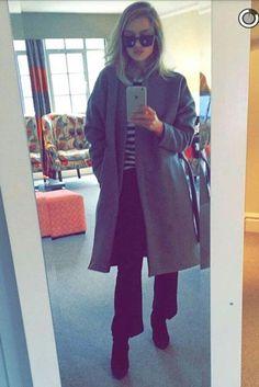 Rosie Huntington-Whiteley wearing Chloe Striped Sweater, Giuseppe Zanotti Buckle Ankle Boot, Anita Ko Diamond Loop Earrings, Saint Laurent Cat-Eye Acetate Sunglasses and Toteme Chelsea Belted Wool-Blend Felt Coat