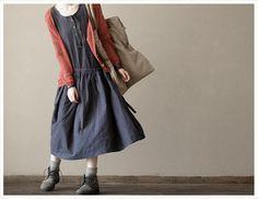 Dark Blue  Women  Loose Girl Cotton  Short  Sleeved Long  Dress- 2colours