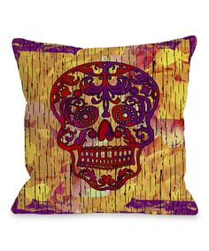 Take a look at this Orange Dia de los Muertos Throw Pillow by OneBellaCasa on #zulily today!