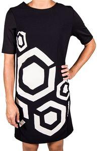 Vestido desigual blanco y negro