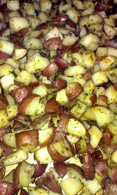 "oven roasted herbed red potatoes! ""The first time I made this I was just trying make a side dish no one would complain about. It was such a big hit, everyone wanted me to make them again the next night. :-D""  @allthecooks #recipe #potatoes #side"