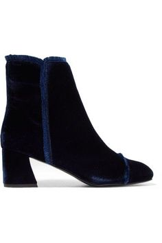 Stuart Weitzman - On The Fringe Velvet Ankle Boots - Navy