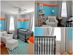 Paint stripe ideas for Cole's room- except yellow instead of the blue.