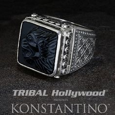 Konstantino+ROARING+LION+Secret+Compartment+Silver+Mens+Poison+Ring