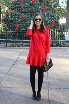 Red dress and tights via With Style and a Little Grace