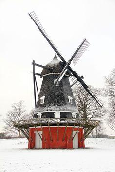 El molino by Popiart,   Danish windmill in the snow.