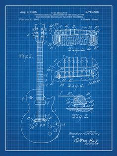 Inked and Screened Gibson Les Paul Guitar Blueprint Graphic Art